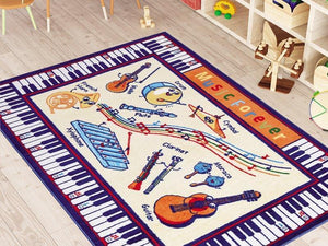 "Music Learning Theme Rugs for Kids Large Carpets 7'x10' 79""X114"" 200X290cm - Rattanglobal"