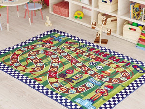 "Race Day Game Theme Rugs for Kids Large Carpets 7'x10' 79""X114"" 200X290cm - Rattanglobal"