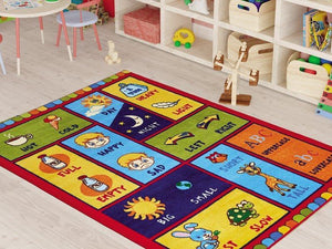 "Opposite Learning Theme Rugs for Kids Large Carpets 7'x10' 79""X114"" 200X290cm - Rattanglobal"