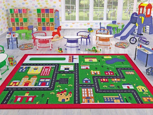 "Town Game Theme Rugs for Kids Large Carpets 7'x10' 79""X114"" 200X290cm - Rattanglobal"