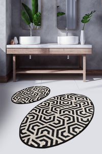 Antdecor Djt 2'li Line Premier Carpet poster, Bathroom Carpet Set Anthracite