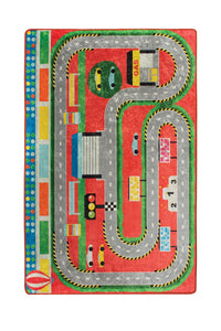 "RugstoreX Station Red Rugs for kids Highway  3'x 5' 39""x 62"" 100x160 cm"