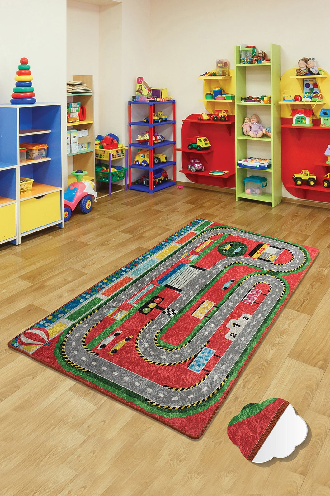RugstoreX Station Red Rugs for kids Highway  3'x 5' 39