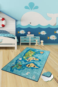"Antdecor Map Blue Rugs for kids Highway  3'x 5' 39""x 62"" 100x160 cm"