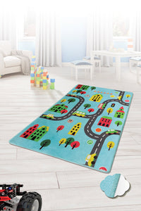 "RugstoreX Road Blue City Rugs for kids Highway  3'x 5' 39""x 62"" 100x160 cm"