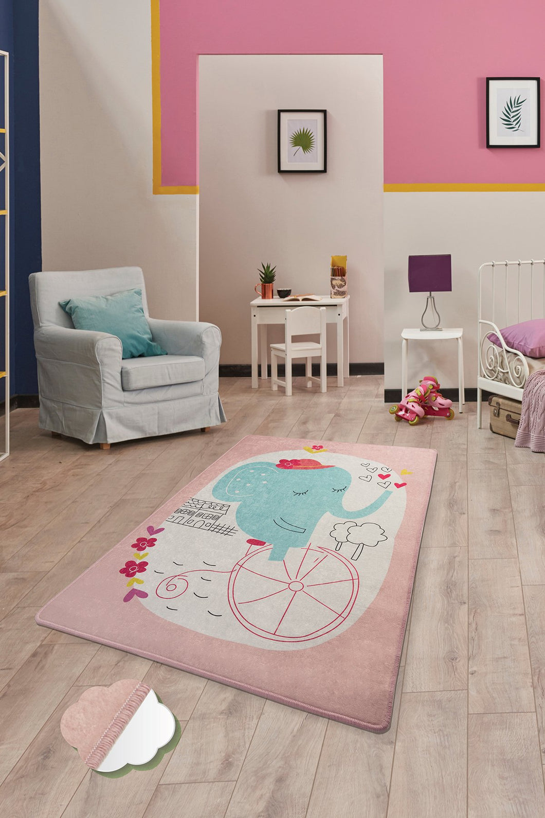 Antdecor Elephants Pink Rugs for kids Highway  3'x 5' 39