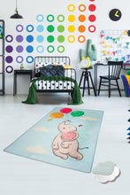 "Load image into Gallery viewer, RugstoreX Blue Balloons Rugs for kids Highway  3'x 5' 39""x 62"" 100x160 cm"