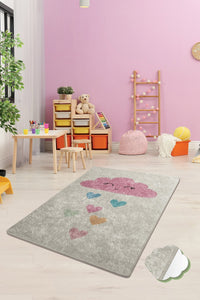 "RugstoreX Cloud Ekru Rugs for kids Highway  3'x 5' 39""x 62"" 100x160 cm"