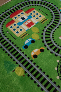 "RugstoreX Train Rugs for kids Highway  3'x 5' 39""x 62"" 100x160 cm"