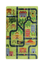 "Load image into Gallery viewer, RugstoreX Small Town Green Rugs for kids Highway  3'x 5' 39""x 62"" 100x160 cm"