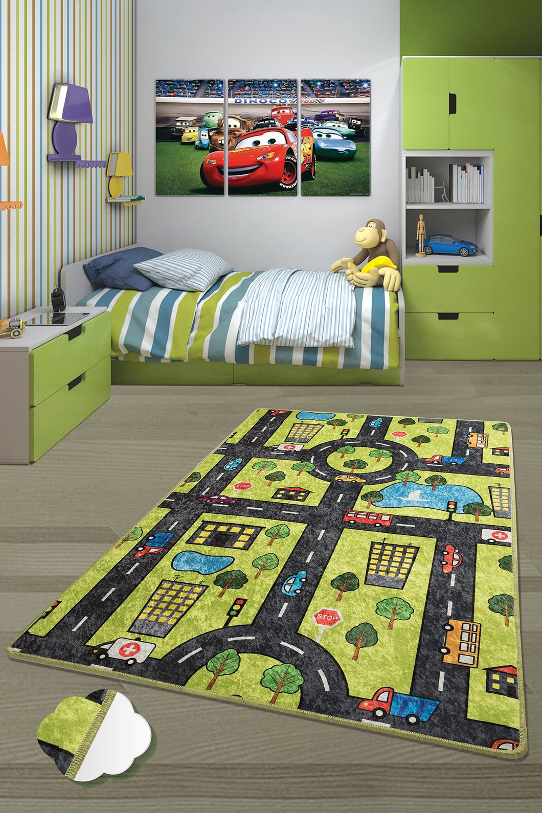 Antdecor Green City Rugs for kids Highway  3'x 5' 39