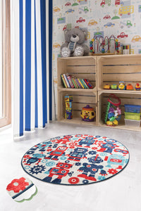 "RugstoreX Robot Blue Rugs for kids Highway  3'x 5' 39""x 62"" 100x160 cm"
