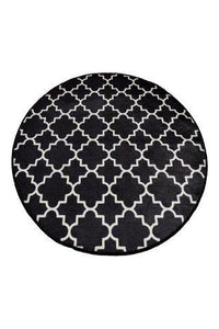 "Cansun Black Cup Round Bath Rug 40"" 100 cm - Rattanglobal"