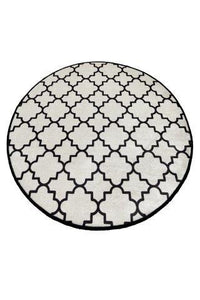 "Cansun White Cup Round Bath Rug 40"" 100 cm - Rattanglobal"