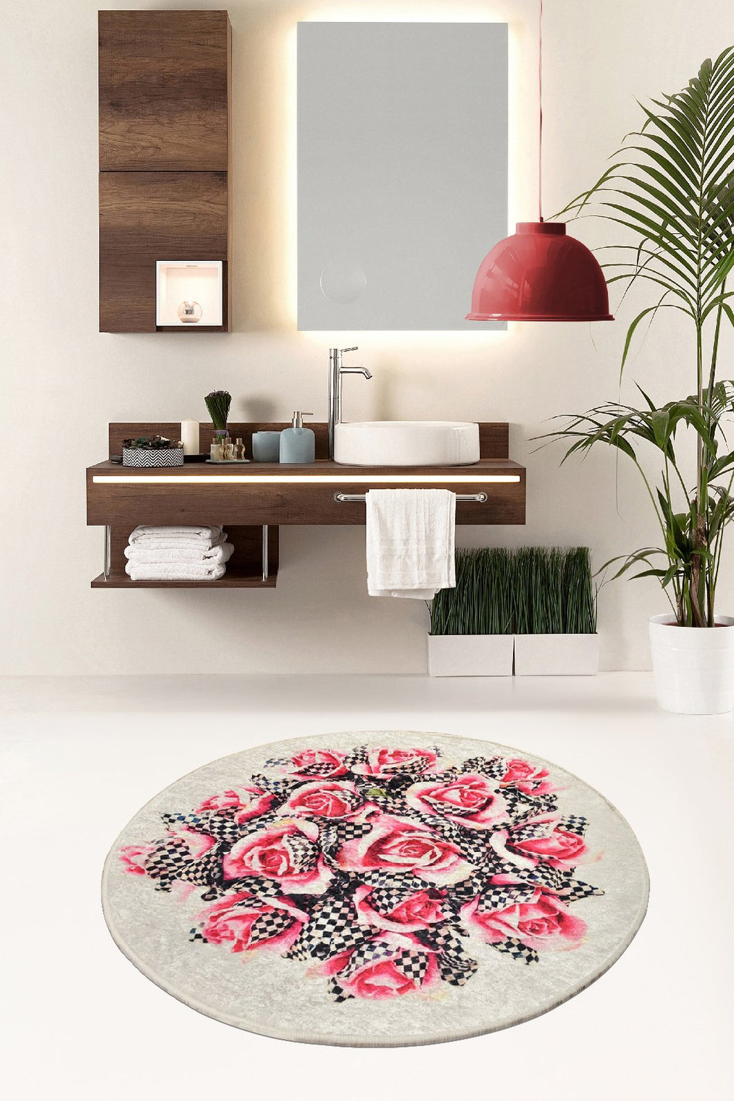Antdecor Magic Roses Round Bath Rug Area Rug Round Rug 40