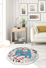 "Load image into Gallery viewer, Antdecor Blue Cats Round Bath Rug Area Rug Round Rug 40"" 100 cm - 55"" 140 cm"