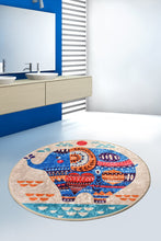 "Load image into Gallery viewer, Antdecor Etnic Djt Round Bath Rug Area Rug Round Rug 40"" 100 cm - 55"" 140 cm"