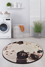 "Load image into Gallery viewer, Antdecor Angry Cats Round Bath Rug Area Rug Round Rug 40"" 100 cm"