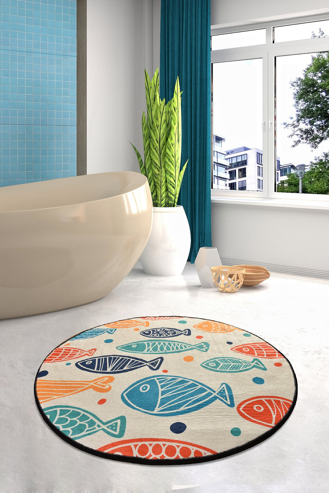 Antdecor  Fish Round Bath Rug Area Rug Round Rug 40