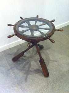 "Ship Wheel Table 38,5""X38,5""X29,5"" Walnut Wood Modern Living Room Table - Rattanglobal"