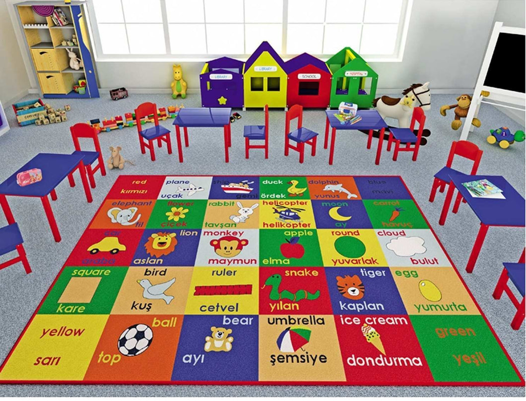 Antdecor Kids Rugs Study Time Design Antislip Anti Alergetic Game Carpets for Kids ( 53