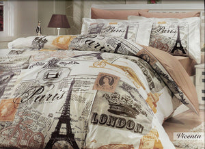 Paris Home 100% Cotton Single Twin Size Eiffel Tower Vintage Brown Bedding Set Quilt Doona Cover Sheets - Rattanglobal