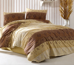 "House of Hampton Charm Brown Reversible Duvet Set Queen (78""x87"" / 200x220cm) Bedding Linens Set 4 Pcs."