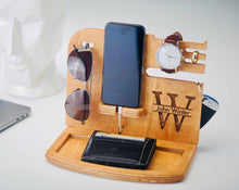 Load image into Gallery viewer, Wooden Docking Station, Unique holiday gift, Christmas, New Year, Birthday, Gift for Men, husband/wife, Anniversary Gift, Father