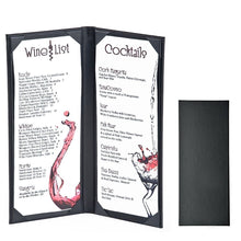 Load image into Gallery viewer, 3PCS Menu Holder Menu Covers (14.6 × 4.9 inch/Book Style/Black) - Rattanglobal
