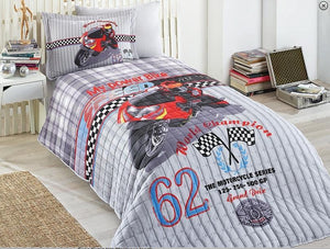 "Kids Motorcycle Theme Speed Model Twin Comforter Set with Fitted Sheet 59""x 85"" (150x210cm) - Rattanglobal"
