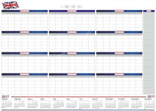"Load image into Gallery viewer, UK 2017 CALENDAR Extra Large 38"" x 55"" Dry & Wet Erasable Undated - Rattanglobal"