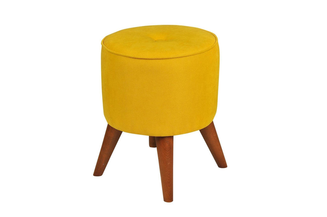 Round Yellow Poufs - Rattanglobal