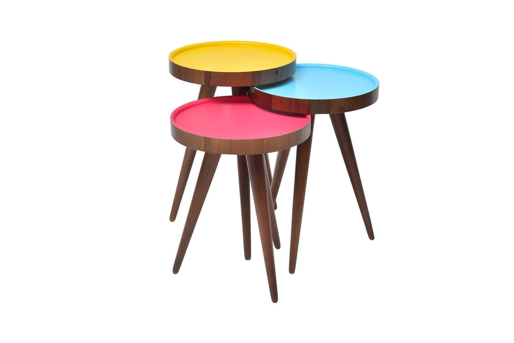 TV Tray, Coffee Table Round Walnut Wood colourful 3 pcs. 15