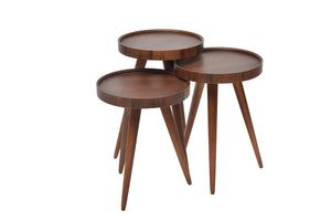 "TV Tray Table Round Walnut Wood 3 pcs. 15""X15""X H:24"" - Rattanglobal"
