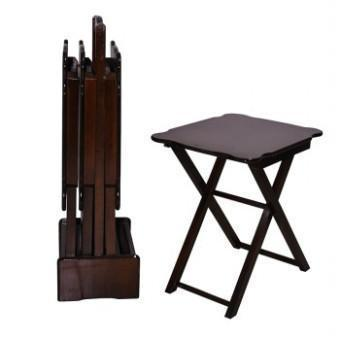 Walnut Wood  Folding Table Set of 4 Radius Corner Coffee Table Model - Rattanglobal