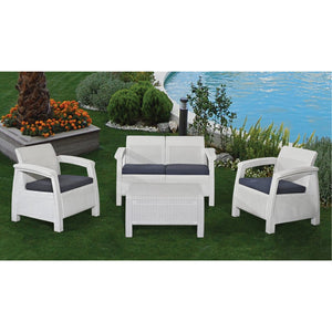 Keter Corfu 4 Piece Set All Weather Outdoor Patio Garden Furniture w/ Cushions, White - Rattanglobal
