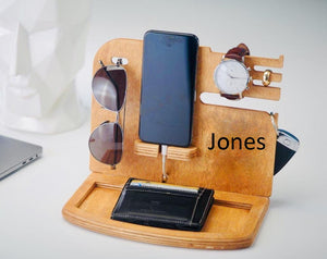 Wooden Docking Station, Unique holiday gift, Christmas, New Year, Birthday, Gift for Men, husband/wife, Anniversary Gift, Father