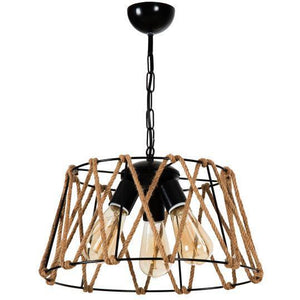Ora Decor Rope 3 Pcs Round Chandelier Black - Rattanglobal