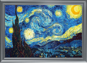 "The Starry Night, Van Gogh - UV Print Fantastic Aluminum Frame (19.7""X27.5"" Gallery Quality Metal Art) - Rattanglobal"