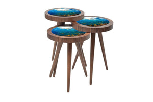 "UV Photo Print Round Coffee Table 3pcs Set Eco Friendly - indefectible 15""X15""X H:24"" Aquarium Theme - Rattanglobal"