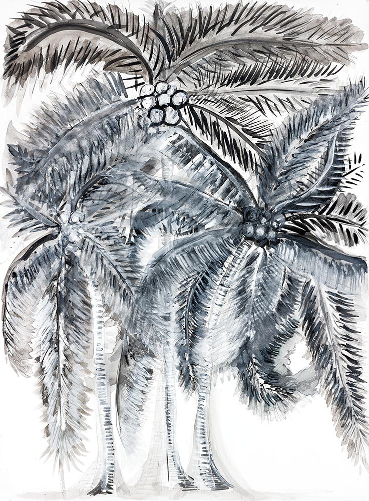 Island Life in Black Tropical Art on Canvas