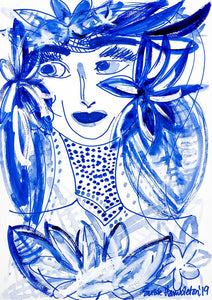 Island Heritage - Girl in Blue Coastal Contemporary Art on Canvas