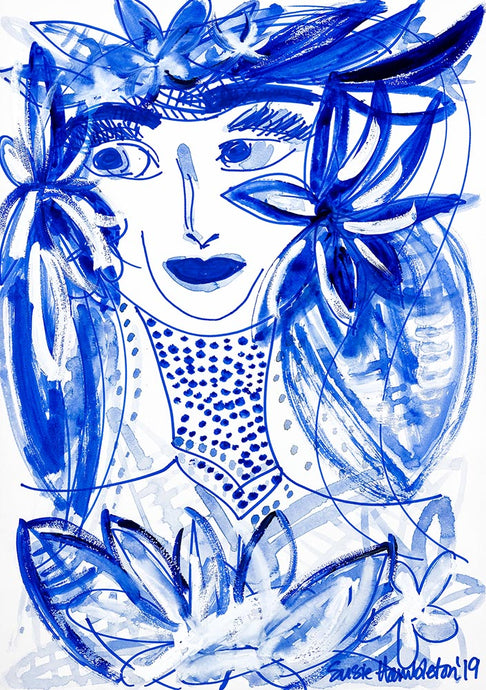 Island Heritage - Girl in Blue Art on Canvas