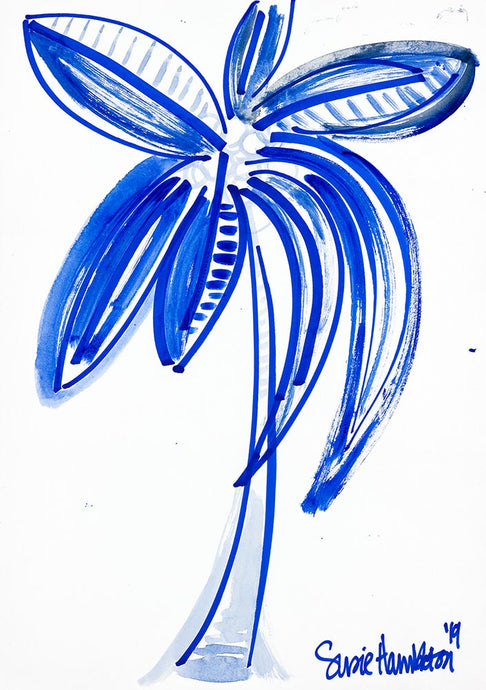 Fun Palm in Blue Art on Canvas
