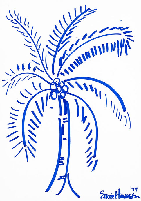 Inside Out Palm in Blue Art on Canvas