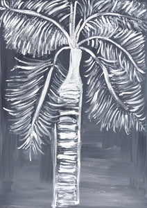 """Coconut Palm by the Pool"" Black and White Palm Tree Coastal Art on Canvas"