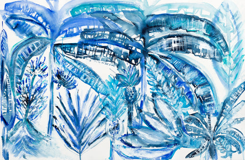"Original Hand Painted ""Lost and Happy in the Tropics""  Tropical Jungle Scene in Blues - Large Size"