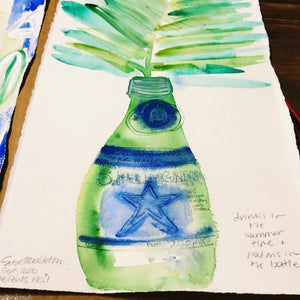 "No. 1 ""Drinks in the Summer Time + Palms in the Bottle"" Small Original Watercolour Art on Paper and Framed"