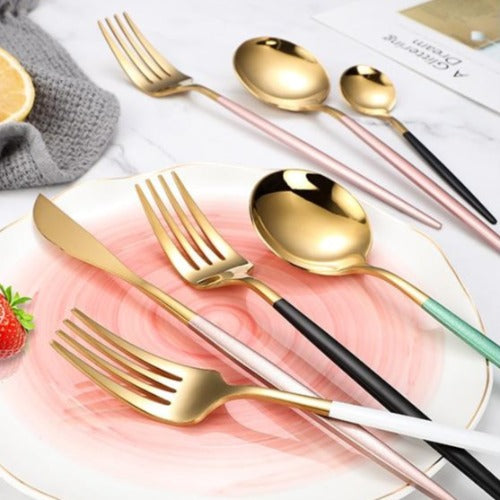 Sparkling Rose or Yellow Gold Stainless Steel Cutlery Set | Slender,  Minimalist, Elegant | Various Color Options