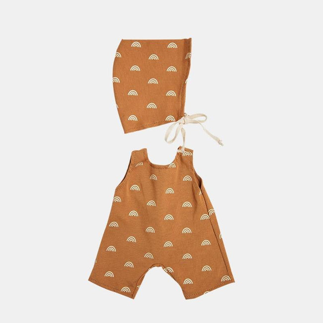 DINKUM DOLL COTTON ROLO ROMPER SET fawn